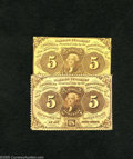 Fractional Currency:First Issue, Fr. 1229 5c First Issue VF Fr. 1230 5c First Issue XF. Fr. 1229s are thirty times scarcer than Fr. 1230s. A hard cente... (2 notes)