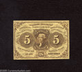 Fractional Currency:First Issue, Fr. 1230 5c First Issue Extremely Fine-About Uncirculated. Technically EF-AU in grade but with good margins and a great deal...