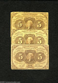 Fractional Currency:First Issue, Fr. 1230 5c First Issue Three Examples Very Good. One note in this trio has edge tears. ... (3 notes)