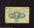 Fractional Currency:First Issue, Fr. 1242 10c First Issue Fine. Well circulated but without a hint of a problem....