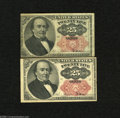 Fractional Currency:Fifth Issue, Fr. 1308 25c Fifth Issue Fine Fr. 1309 25c Fifth Issue VF. Both keysizes are found within this lot. ... (2 notes)