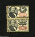 Fractional Currency:Fifth Issue, Pair of Fr. 1309 25c Fifth Issue Fine-Very Fine.A nice problem freeshort key example which grades Fine and a much nicer exa... (2notes)