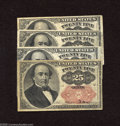Fractional Currency:Fifth Issue, Fr. 1309 25c Fifth Issue Four Examples Fine or Better. A bit ofsnap remains with this Walker quartet. ... (4 notes)