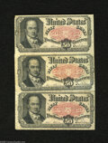 Fractional Currency:Fifth Issue, Fr. 1381 50c Fifth Issue Three Examples Very Good or Better. Onenote has an undecipherable rubber stamping on the back, whi... (3notes)