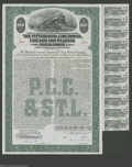 Miscellaneous:Other, The Pittsburgh, Cincinnati, Chicago and St. Louis Railroad Company- $1000 Bond. A train speeds pass a repair crew on this ...