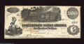 Confederate Notes:1862 Issues, T39 $100 1862. This CSA C-note has a couple of folds and somehandling with an array of Interest Paid designations on the ba...