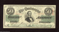 Confederate Notes:1863 Issues, T57 $50 1863. Nice color has encamped on this 1st Series Jeff Davis$50. Very Fine....