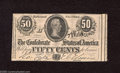 Confederate Notes:1864 Issues, T72 50 Cents 1864. The Confederate Treasury employee who cut this sheet apart left a slice of the adjacent note along the r...