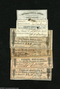 Confederate Notes:Group Lots, Six Confederate Bond Coupons. Five of the six coupons are differentand include a $3 (2), $15, $20, $30, and $40 coupon. Als... (6notes)