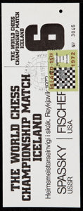 Olympic Collectibles:Autographs, 1972 World Chess Championship Full Ticket Bobby Fischer vs. Boris Spassky.. ...