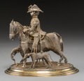Asian:China Trade, An Anglo-Colonial Batavian Silver Filigree Figural Group:British Cavalry Officer on Horseback with Hounds, late19t...