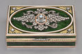 Decorative Arts, Continental:Other , A 14K Vari-Color Gold, Diamond, Silver, Spinach Jade, and GuillocheEnamel Snuff Box in the Manner of Faberge, late 2...
