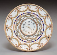 A 14K Vari-Color Gold, Diamond, Silver, and Enamel Clock in the Manner of Faberge, late 20th century 5-1/4 inches
