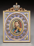 Decorative Arts, Continental, A 14K Vari-Color Gold, Diamond, and Guilloche Enamel Picture Framein the Manner of Faberge, late 20th century. 5-1...