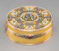 Decorative Arts, Continental, A 14K Vari-Color Gold, Diamond, Silver, Guilloche Enamel, andCabochon-Mounted Snuff Box in the Manner of Faberge, late 20th...