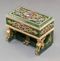 Decorative Arts, Continental, A 14K Vari-Color Gold, Diamond, Spinach Jade and Guilloche EnamelPiano-Form Bonbonnière in the Manner of Faberge, la...