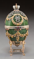 Decorative Arts, Continental, A 14K Vari-Color Gold, Diamond, Silver, Spinach Jade, Enamel, andCabochon-Mounted Egg with Jade Frog Surprise in the Manner o...