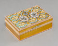 Decorative Arts, Continental, A 14K Vari-Color Gold, Diamond, Silver, and Guilloche Enamel Box inthe Manner of Faberge, late 20th century. 1-1/4 h x 3-3/...