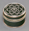 Decorative Arts, Continental, A 14K Vari-Color Gold, Diamond, Silver, Spinach Jade, and EnamelPill Box in the Manner of Faberge, late 20th century . 1-1/...