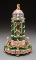 A Large and Impressive 14K Vari-Color Gold, Diamond, Jade, and Enamel Colonnade-Form Annular Clock in the Manner of Fabe...