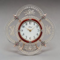 A 14K Gold, Diamond, Rock Crystal, and Guilloche Enamel Clock in the Manner of Faberge 4-5/8 inches high x 4-7/8 i