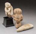 Carvings, Three Various Pre-Columbian Stone Carvings. 8 inches high (20.3 cm) (head). ... (Total: 3 Items)