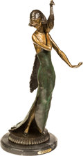 Fine Art - Sculpture, American, Michael S. (20th Century). Standing Girl with Peacock, 1991.Bronze with polychrome. 30 inches (76.2 cm) high on a 2 inc...