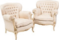 Furniture , A Pair of Louis XV-Style Upholstered Creme Peinte Bergere, late 19th century. 34-1/2 h x 33 w x 32 d inches (87.6 x 83.8 x 8... (Total: 2 Items)