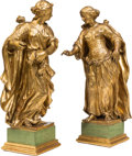 Decorative Arts, Continental:Other , A Pair of Continental Carved Giltwood Figures, late 19th century.33 inches high (83.8 cm) (taller). PROPERTY FROM A DALLA... (Total:2 Items)