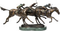 Sculpture, Duane Scott (20th Century). Win, Place, and Show. Bronze with polychrome. 19 inches (48.3 cm) high on a 2 inch (5.1 cm) ...