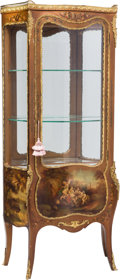 Furniture , A Louis XV-Style Vernis Martin Bombe Vitrine, early 20th century. 63-1/2 h x 28-1/2 w x 14 d inches (161.3 x 72.4 x 35.6 cm)... (Total: 2 Items)