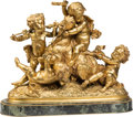 Decorative Arts, French, A French Gilt Bronze Group of Bacchic Putti Riding Goat AfterAlbert Ernest Carrier-Belleuse, late 19th century. Marks: Ra...(Total: 2 Items)