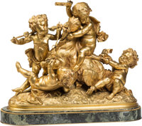 A French Gilt Bronze Group of Bacchic Putti Riding Goat After Albert Ernest Carrier-Belleuse, late 19th century Ma