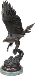 Sculpture, After Jules Moigniez (French). Eagle. Bronze with brown patina. 30 inches (76.2 cm) high on a 2 inch (5.1 cm) high marbl...
