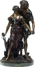 Sculpture, After Hippolyte Moreau (French/American). Figural Grouping. Bronze with brown patina. 25-1/2 inches (64.8 cm) high on a ...