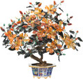 Asian:Chinese, A Large Chinese Jade, Agate, and Hardstone Tree in CloisonnéPlanter. 26-1/4 inches high (66.7 cm). ...