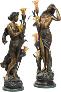 Decorative Arts, French:Other , Two Tall Bronze and Iridescent Glass Figural Lamps After AugusteMoreau. 39-1/4 inches high (99.7 cm) (taller). ... (Total: 2 Items)