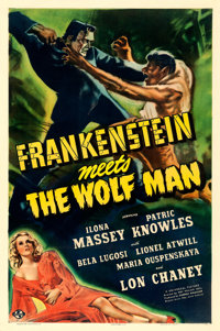 "Frankenstein Meets the Wolf Man (Universal, 1943). One Sheet (27"" X 41"") Karl Godwin Artwork"