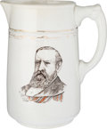 Political:3D & Other Display (pre-1896), Harrison & Morton: Multicolored Ironstone Pitcher with Dual Portraits....