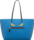 """Luxury Accessories:Bags, Fendi Blue Embossed Leather Monster Medium Tote Bag. Condition: 2. 14"""" Width x 11"""" Height x 5.5"""" Depth. ..."""