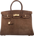 """Luxury Accessories:Bags, Hermes 35cm Chocolate Veau Doblis Suede Birkin Bag with Gold Hardware. C Square, 1999. Condition: 3. 14"""" Width x 1..."""