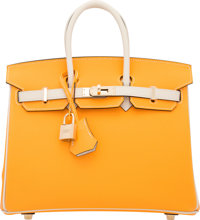 Hermes Special Order Horseshoe 25cm Jaune d'Or & Craie Epsom Leather Birkin Bag with Gold Hardware A, 2017<...
