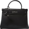 Luxury Accessories:Bags, Hermes Limited Edition 35cm So Black Calf Box Leather Retourne Kelly Bag with PVD Hardware. O Square, 2011. Condition:...