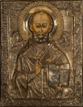 Decorative Arts, Continental, A Russian Gilt and Silvered Wood Icon of St. Nicholas, late 19thcentury. 11-1/2 inches high x 8-3/4 inches wide (29.2 x 22....