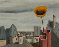 Alvaro Guillot (American/French, 1931-2010) Spring on the Rooftops, 1969 Oil on canvas 24 x 30 in