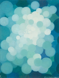 Oskar Fischinger (German, 1900-1967) Blue Cluster, 1956 Oil on Masonite 17 x 13 inches (43.2 x 33