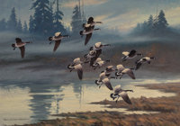 Harry Curieux Adamson (American, 1916-2012) Veiled Landing Canada Geese Oil on canvas 30 x 42 inc