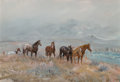 Fine Art - Painting, American, William Standing (American, 1904-1951). Wild Horses. Oil onboard. 10-1/2 x 15-3/8 inches (26.7 x 39.1 cm). Signed lower...