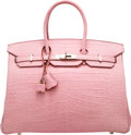 "Luxury Accessories:Bags, Hermes 35 cm Matte Pink 5P Alligator Birkin Bag with Palladium Hardware. O Square, 2011 . Condition: 2. 14"" Width ..."