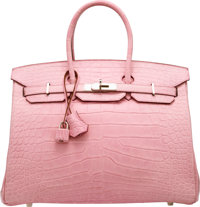 Hermes 35 cm Matte Pink 5P Alligator Birkin Bag with Palladium Hardware O Square, 2011 Condition